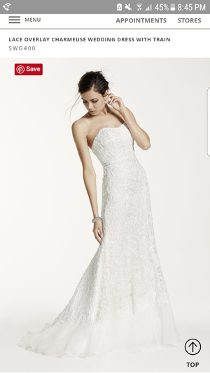 David's Bridal Lace Overlay Charmeuse Gown for Sale in Rockville, MD