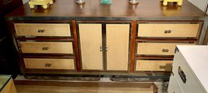 MID CENTURY MODERN BURL CREDENZA WITH CANE DRAWER AND DOOR FRONTS for Sale in Oakland Park, FL