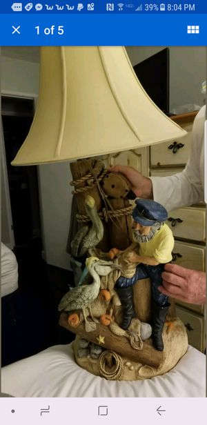 "Apsit Bros Of Calif 1980's Vintage Lamp Antique Fisherman Nautical Sea 32""H 14"" for Sale in Pittsburgh, PA"