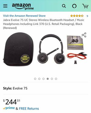 Jabra Evolve 75 UC Stereo Wireless Bluetooth Noise Cancelling Headset with Link 370 for Sale in Columbus, OH