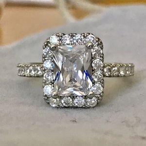 2ct emerald cut stimulated diamond ring sterling silver plated wedding engagement ring for Sale in Silver Spring, MD