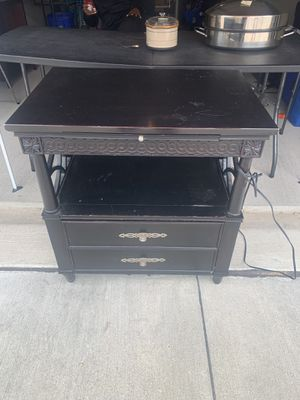 Beautiful Night Stand solid wood with electrical outlet and pull out writing desk for Sale in Forney, TX