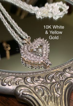 10K Gold 1 CT Open Heart Diamond Pendant for Sale in Sterling, VA