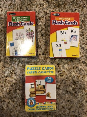 Roseart 3 Pack Flash Card Game Set Phonics, Color, Shapes & Counting, Puzzle Cards Cartes Casse-Tete Garage Sale for Sale in Goodyear, AZ