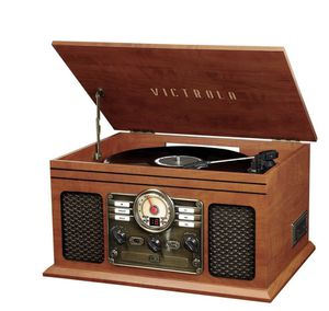 7-in-1 Bluetooth Stereo Turntable Audio System - Mahogany for Sale in Edgewater, NJ