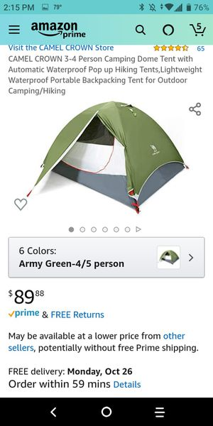 Camel crown tent 4-5 person new in bag for Sale in Shelby, NC