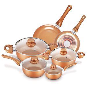 Set of non-adherent pots and pans – Set of 10 copper pans – KUTIME – Set of 10 anti-stick ceramic coating utensils, kitchenette, copper aluminium pot for Sale in Miami, FL