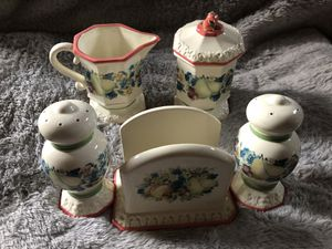 Avon Sweet Country Harvest Table Set. Napkin Holder, S & P, Creamer, Covered Sugar Dish for Sale in Cynthiana, KY