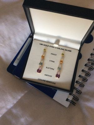 New gemstone earrings (18k gold over sterling silver) for Sale in Gardena, CA