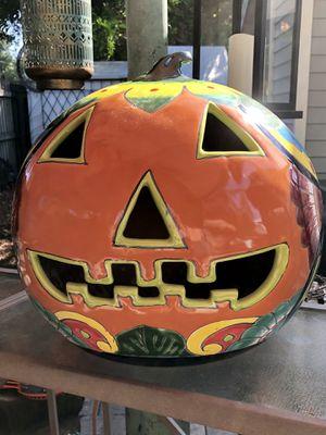 Large ceramic Halloween pumpkin candle holder for Sale in Palm Harbor, FL