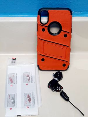 iPhone X Orange Case With Kickstand Includes Glass Screen Protector for Sale in Riverside, CA