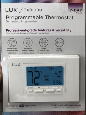 Programmable thermostat seven day model TX9100U lux brand for Sale in Seattle, WA