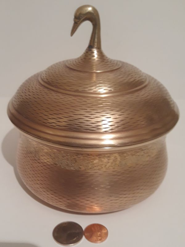 """Vintage Metal Brass and Copper Container, Storage Can, Goose, Duck, Very Heavy Duty, 6"""" x 5"""", Weighs a Little Over 2 Pounds, Home Decor, Table Display"""