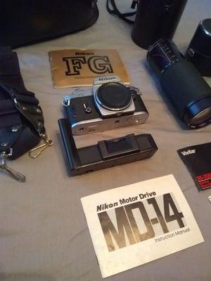 Nikon FG SLR Film Camera, MD-14 Motor Drive, Lenses for Sale in San Diego, CA