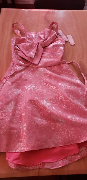 Girls Formal Dress Nannette Pink Silver Flowers Child Size 12 for Sale in Los Angeles, CA