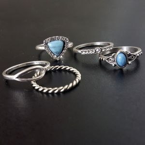Set of 5 Silver / Turquoise Rings for Sale in Aurora, OH