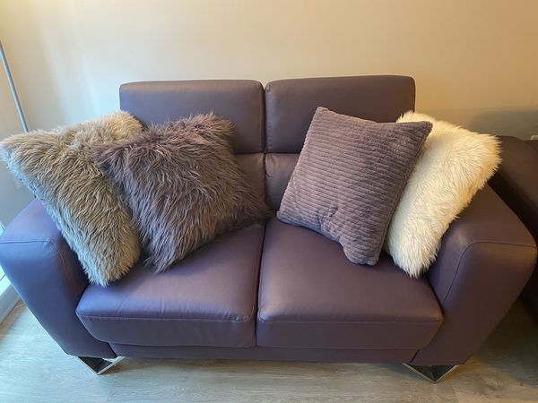 Beautiful purple love seat & sofa with gray oversized chair