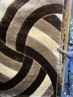 5x7 Area Rugs Carpet Rugs Shaggy Super Shaggy 3D Carved Soft Touch Colors Brown Beige Cream for Sale in Los Angeles,  CA