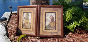 2 monkey framed pictures pineapple for Sale in New Port Richey, FL