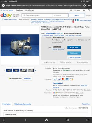 FIR Elettromeccanica 1ph 1 hp Enclosed centrifugal Pump Motor for Sale in Lubbock, TX