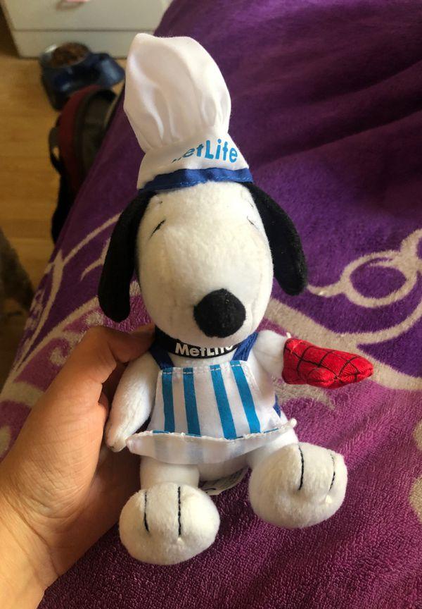 2014 METLIFE Plush BAKER SNOOPY Dog Chef Hat Apron BBQ Glove Stuffed Animal Toy