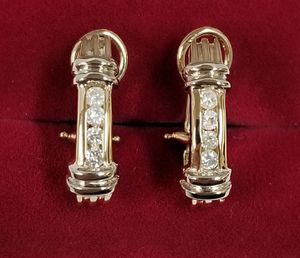 14k Yellow Gold Omega Clip Back Diamond Hoop Earrings for Sale in Hemet, CA
