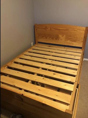 Brown Full Size Bed Frame With 6 Drawers for Sale in Salem, OR