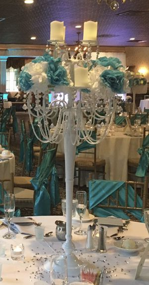 Set Of 10 - White Bling Event Candelabras for Sale in Collingswood, NJ