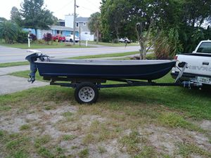 Nice 12 ft Vee hual 9.9 Evinrude and trailer for Sale in Port Richey, FL