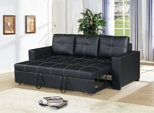 BLACK BONDED LEATHER WHITE STITCHING SOFA ADJUSTABLE BED COUCH - SILLON CAMA - PULL-OUT SLEEPER for Sale in Bell Gardens, CA