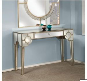 Hanne Console Table, Mirrored (in showroom) $449.00 p3 Rectangular Table Mirrored Finish Geometric Pattern1 DrawerTapered Leg 47.00 x 16.00 x 31.00 I for Sale in Houston, TX