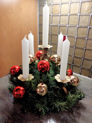Handcrafted Holiday Decor Candelabra Centerpiece for Sale in Pleasant Hill, IA