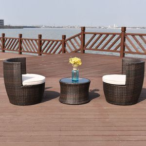 BRAND NEW Patio Furniture Set Round Outdoor Rattan Chairs Table 3 Pc Cushions for Sale in Sacramento, CA