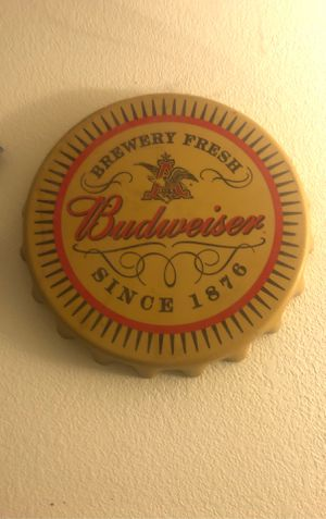 Budweiser bottle cap sign for Sale in Sanger, CA