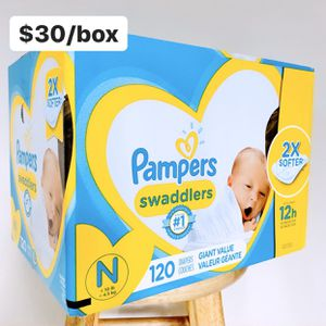 Newborn (Up to 10 lbs) Pampers Swaddlers (120 diapers) - $30/box for Sale in Anaheim, CA
