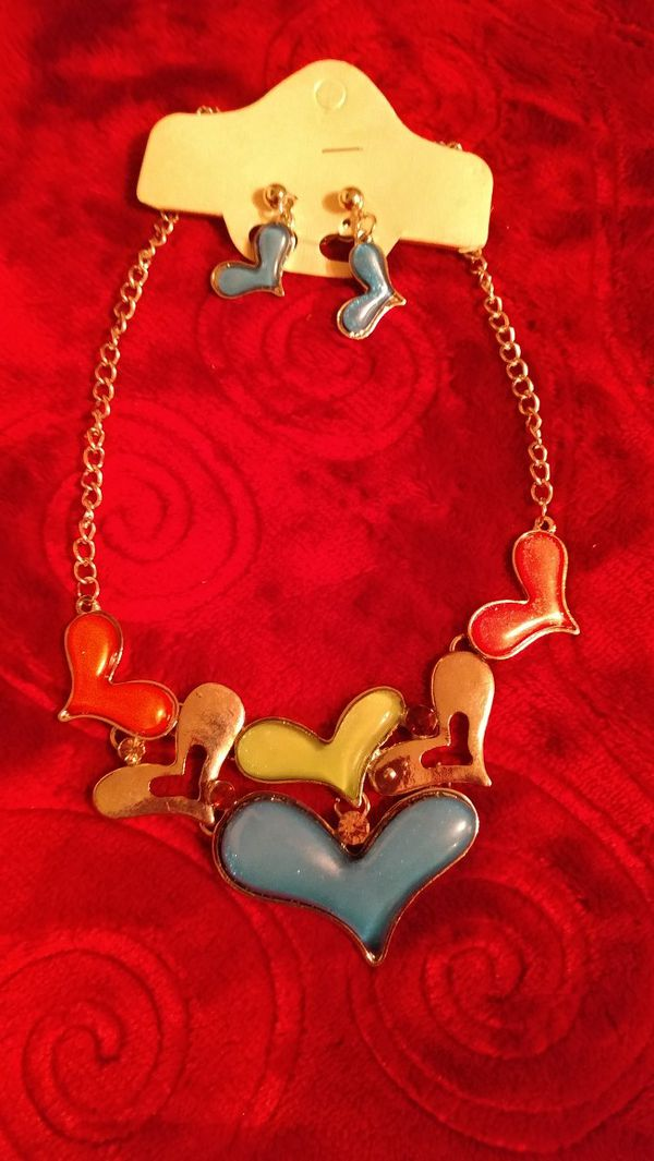 Hearts necklace and earrings