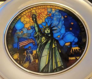 Statue of Liberty Commemorative Collector Plate in Stained Glass and Pewter by Jefferson Pewter for Sale in Los Angeles, CA