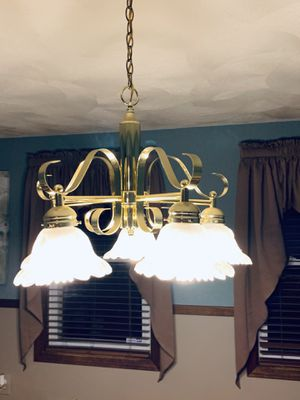 5 Light Gold Hanging Chandelier for Sale in Lawrence, MA