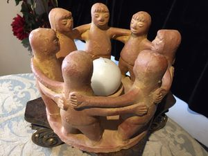 Beautiful, Xlarge hand made pottery candle holder Circle of 7 friends W10xH7 inch for Sale in Chandler, AZ