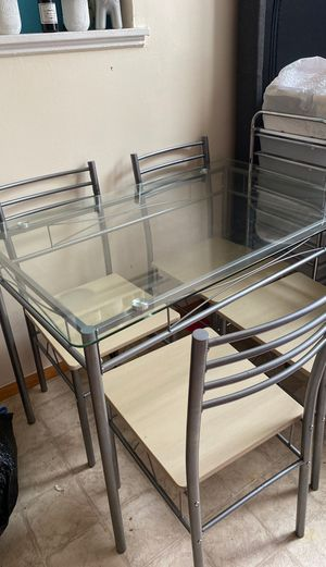 Glass kitchen table with chairs for Sale in Queens, NY