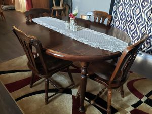 Table with leaf and 4 chairs plus dry sink for Sale in Chase, MI