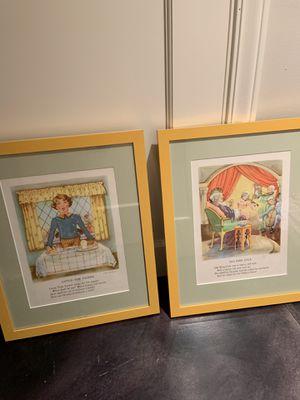 Nursery rhyme prints in custom metal yellow frame for Sale in Seattle, WA