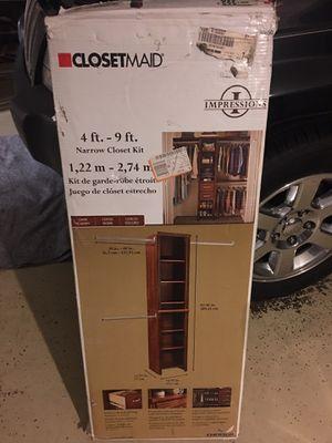 Closetmaid 4ft. -9ft. Narrow closet kit (dark cherry) for Sale in Atlanta, GA