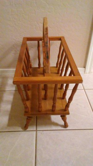 Old magazine rack. Handle needs refinish. Firm price. Deer vly 67th ave for Sale in Glendale, AZ