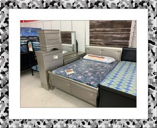 Grey solid wood bedroom set brand new for Sale in Hillcrest Heights,  MD