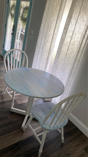 Shabby Chic Coastal Drop Leaf Breakfast Table and 2 Chairs for Sale in Largo, FL