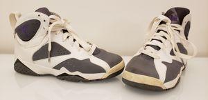 Youth Size Air Jordan 7 RETRO (GS) White/Varsity Purple-Flint Grey SZ 4.5Y 304774-151 for Sale in San Diego, CA