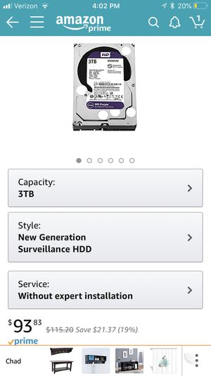 Brand New WD Purple 3 TB Surveillance Hard Drive for Sale in Lakeside, AZ