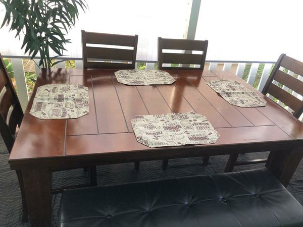 Table And Banch W Chairs