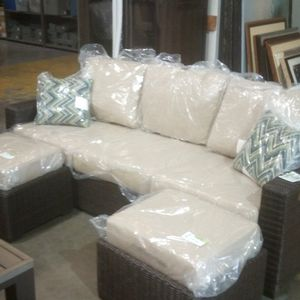 Brand New Patio Couch W/ 2 Ottomans. Includes All Cushions And Decor Pillows Still Wr for Sale in Riverside, CA